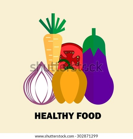 Set of fresh healthy vegetables made in logo style - each one is isolated for easy use. Healthy lifestyle or diet vector design element. Organic farm illustration. - stock vector