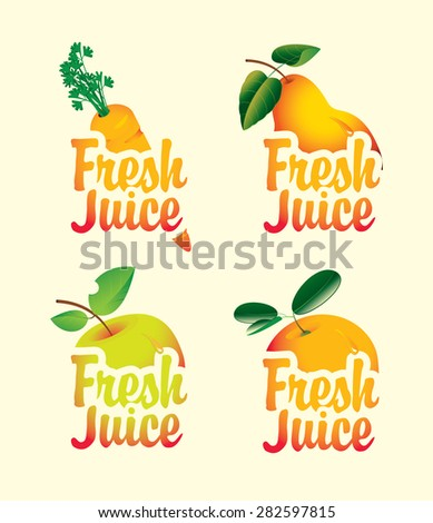 set of fresh juices with pictures of fruit - stock vector