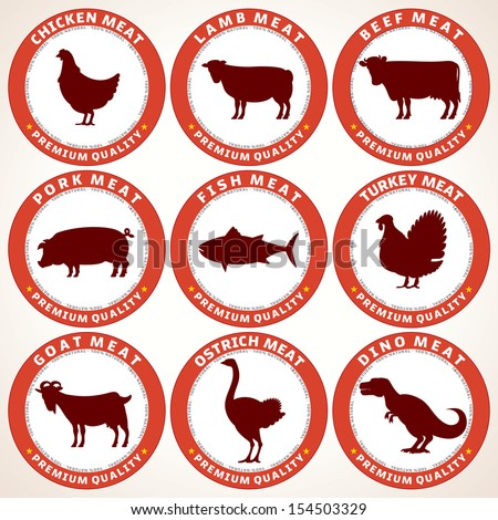 Set of Fresh Meat Labels. Tags with Various Animals Silhouettes and Description. Vector Illustration. - stock vector