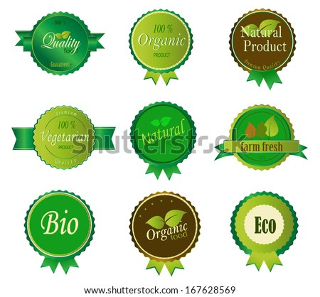 Set of Fresh Organic Labels and Elements