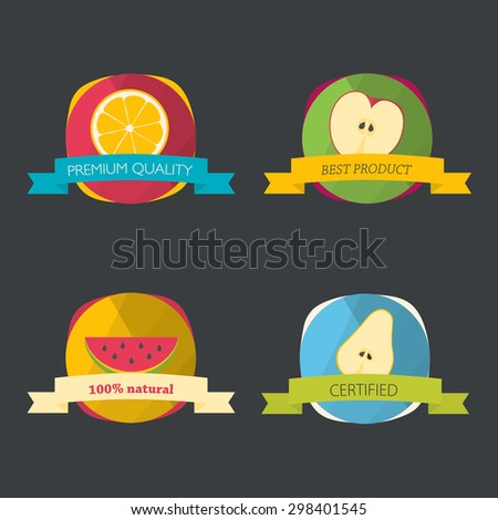 Set of fresh organic labels and elements. Flat icons. - stock vector