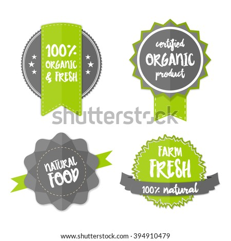 Set of Fresh Organic Labels and Elements. Vector farm green stickers. Eco green signs, vector bio labels. 100% natural organic concept banner. Flat logos with natural organic food lettering concept. - stock vector