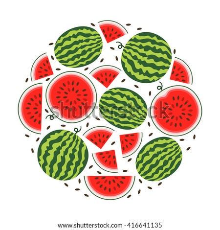 Set of fresh ripe watermelon. Single watermelon, half a watermelon, a slice of watermelon. Summer concept. Watermelon vector illustration - stock vector