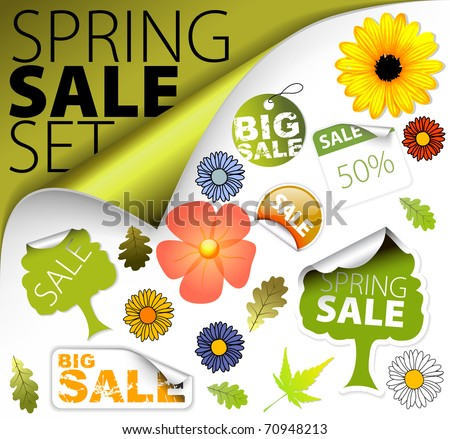 Set of fresh spring discount tickets, labels, stamps, stickers, corners, tags (vector) - stock vector