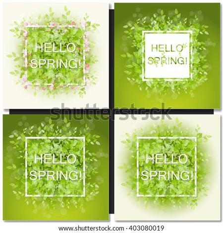 Set of Fresh spring green grass leaves frame template with white frame. Hello Spring design vector illustration. Trendy Design Template. - stock vector