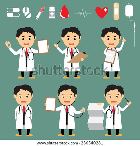 set of friendly cartoon doctor in various poses with medical icons for use in presentations and advertising vector illustration. - stock vector