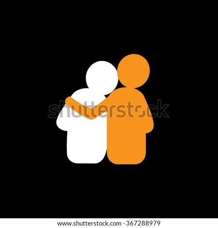 set of friendship, dependence, empathy, bonding - vector icons. this also represents concepts like responsibility, concern, care, together, sympathy, trust, faith, hope & expectation, assurance - stock vector