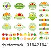Set of fruit and vegetables logo templates. Fruit and vegetables labels with sample text. Fruits and vegetables icons for groceries, agriculture stores, packaging and advertising.