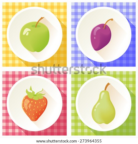 Set of fruit: apple, plum, strawberry, pear. - stock vector