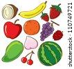 set of fruit doodle - stock vector