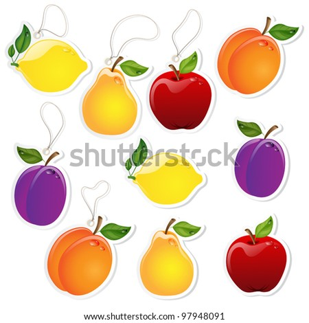 Set of fruit labels with or without lace - stock vector