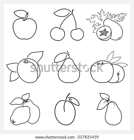 Set of Fruit Linear Icons ,Icon Apple,Cherry,Papaya,Apricot, Pear,Peach, Quince, Plum,Avocado , Isolated on White Background ,  Vector Illustration - stock vector