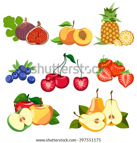 Set of fruits and berries.