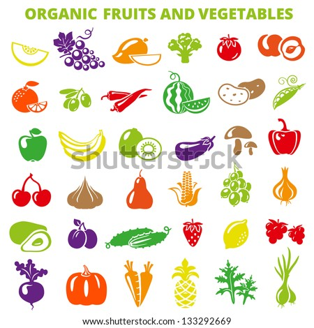 Set of fruits and vegetables: banana, apple, lemon, pear, cherry, pineapple, eggplant, corn, avocado, cucumber, plum, strawberry, beets, radish, garlic, carrots, pumpkin. - stock vector