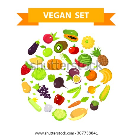 Set of fruits and vegetables in a round form. - stock vector
