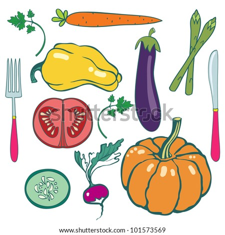 Set of fruits and vegetables with fork and knife. #1 - stock vector