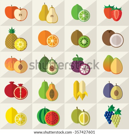 Set of fruits flat icons vector illustration - stock vector