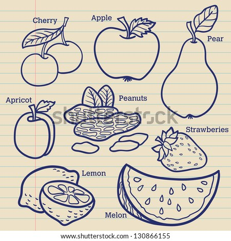 Set of fruits. For menu. Hand drawing, retro. Healthy food. Isolated vector. - stock vector