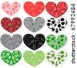 set of 12 fruits hearts vectors - stock vector
