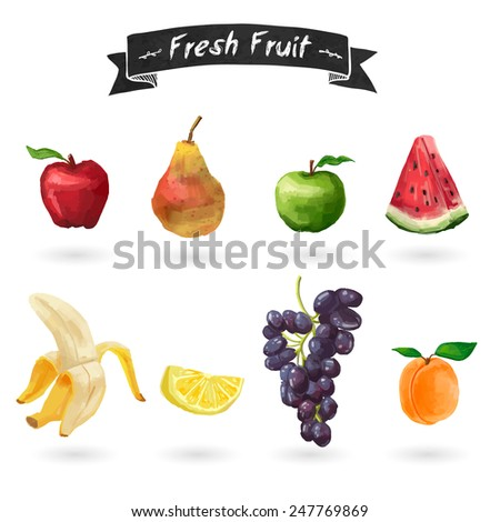 Set of fruits in watercolor style. Isolated. Vector. - stock vector
