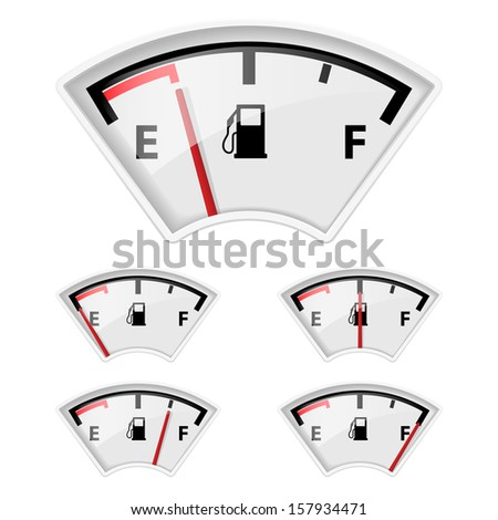 Set of fuel indicators with different petrol amount.  - stock vector