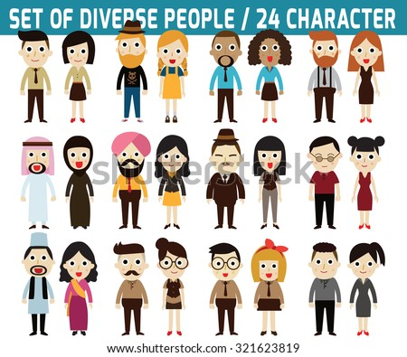 Set of full body diverse business people. infographic elements. flat icons design. graphic illustration. - stock vector