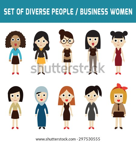 Different Ethnic Cartoon Girls Set Stock Vector 116475922 ...