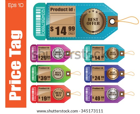 Set Of Full color Sale Tag or Sale Labels for fashion, product, gift, another marketing on-line, and another paper. easy to modify - stock vector