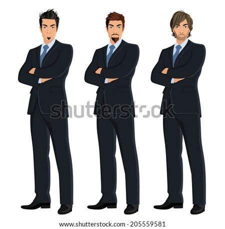 Set of full length body business man isolated on white background vector illustration - stock vector