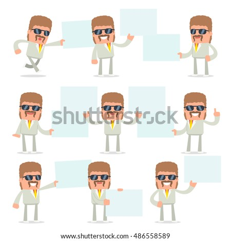 Set of Funny and Cheerful Character Impudent Reseller holds and interacts with blank forms or objects for using in presentations, etc.