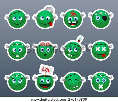 Set of funny and very beautiful green stickers on the theme of Frankenstein - stock vector