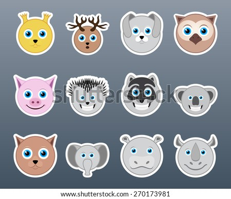 Set of funny and very beautiful smiles in the form of animals - stock vector