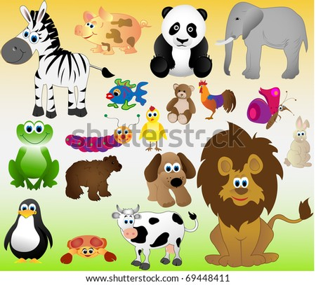 set of funny animals and pets