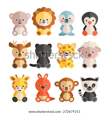 Set of funny animals in a flat style. Cute animals in a cartoon style. - stock vector