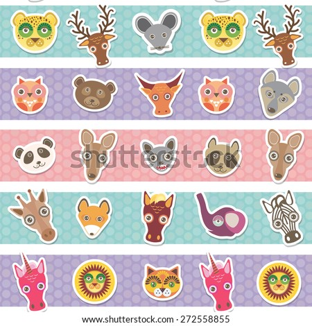Set of funny animals muzzle seamless pattern with pink lilac blue stripes. Vector