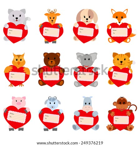 Set of funny animals with hearts for your disign. Can be used in the design of greeting cards for Valentine's Day