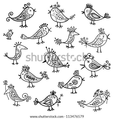 Set of funny birds for your design - stock vector