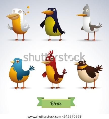 set of Funny Birds, vector - stock vector