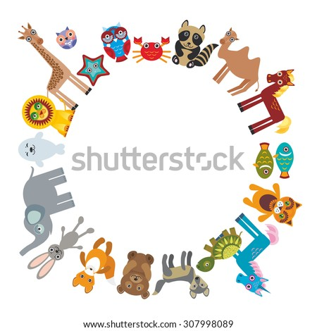 Set of funny cartoon animals character bear elephant fox giraffe horse lion camel rabbit wolf turtle unicorn owl starfish cat seal on white background walking around globe. frame for your text. Vector - stock vector