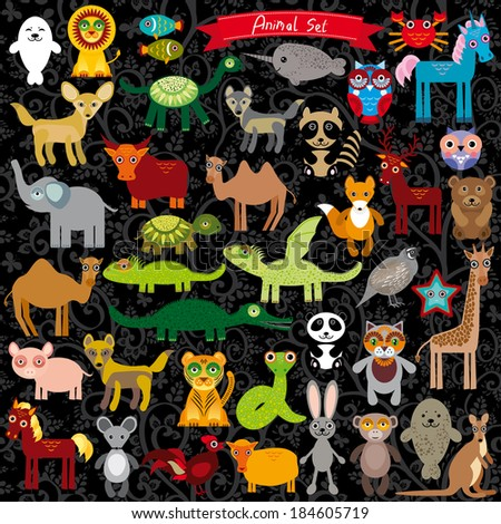 Set of funny cartoon animals character on  black background. zoo. vector - stock vector