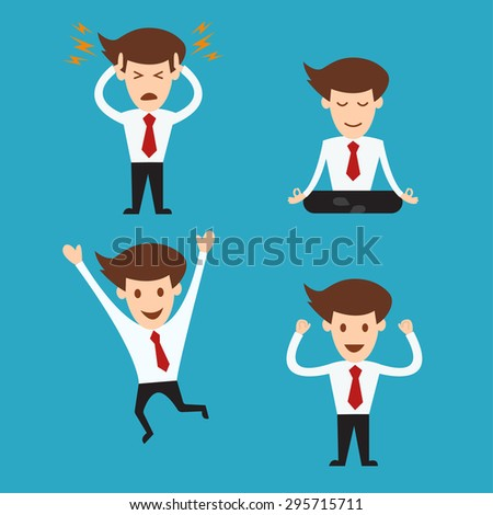 set of funny cartoon business man in various poses - stock vector