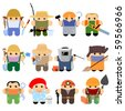 Set of funny cartoon characters. Isolated on white. Part 2 - stock photo