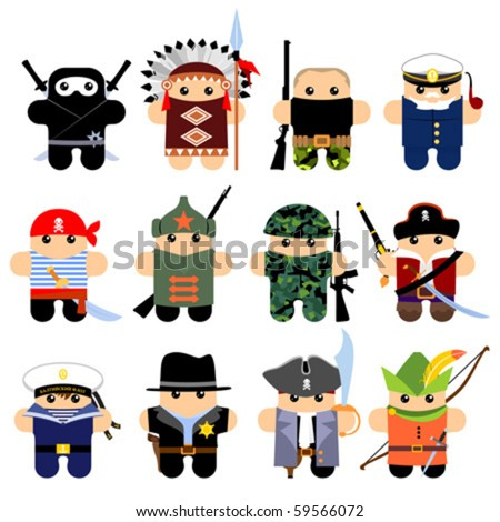 Set of funny cartoon characters. Isolated on white. Part 1 - stock vector