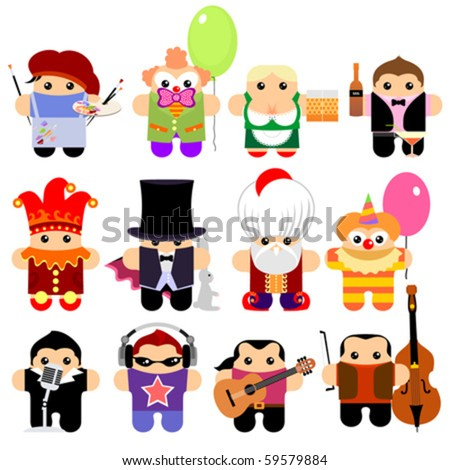 Set of funny cartoon characters. Isolated on white. Part 3 - stock vector