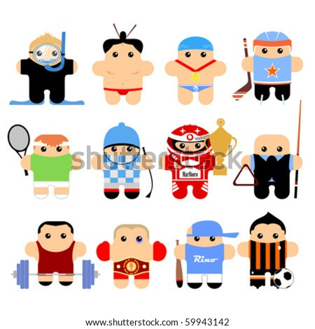 Set of funny cartoon characters. Isolated on white. Part 4 - stock vector