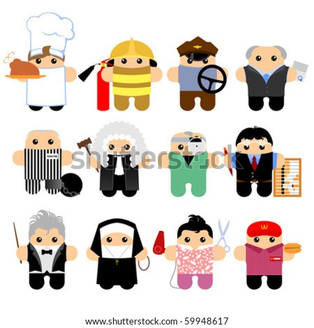 Set of funny cartoon characters. Isolated on white. Part 5 - stock vector