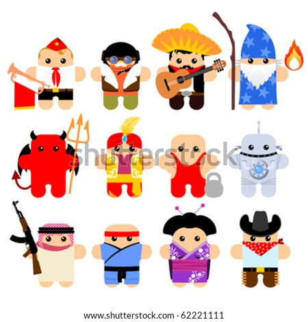 Set of funny cartoon characters. Isolated on white. Part 8 - stock vector
