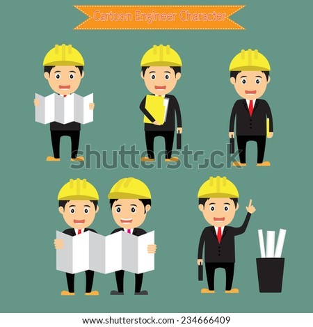 set of funny cartoon engineer character in various poses for use in advertising, presentations, vector illustration. - stock vector