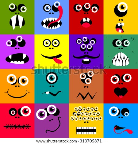 Set of funny cartoon expression monster vector Illustration - stock vector