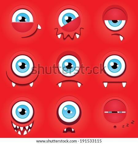 Set of funny cartoon expression monsters - stock vector